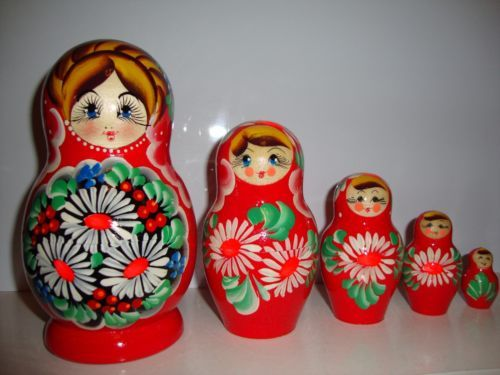 """RUSSIAN-HAND-PAINTED-NESTING-DOLL-BABUSHKA-MATRYOSHKA-5-pieces.  The height of the large doll: 6,3"""" (16cm)"""