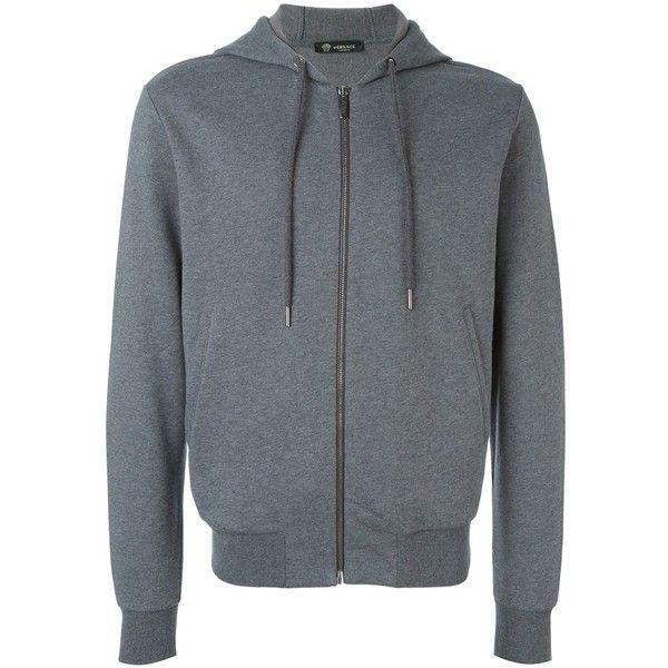 Versace 'Gym' hoodie ($394) ❤ liked on Polyvore featuring men's fashion, men's clothing, men's hoodies, grey, mens hoodies, mens sweatshirts and hoodies and mens grey hoodies