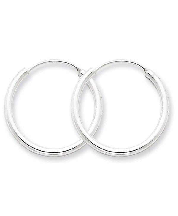 82f7ca214a6a1 925 Sterling Silver Polished Hollow Tube Endless Hoop Earrings 2mm x ...