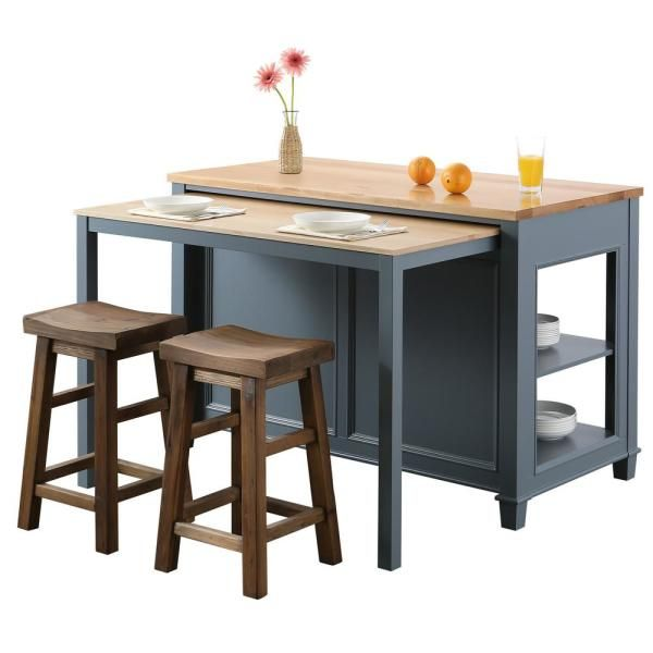 Design Element Medley Gray Kitchen Island With Slide Out Table Kd 01 Gy The Home Depot Grey Kitchen Island Kitchen Island Decor Modern Kitchen Island