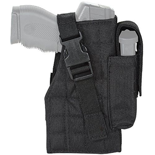 VooDoo Tactical 25-0029001001 Holster With Attached Mag Pouch, Right, Black:   Two MOLLE straps on back attach to any PALS system. Fits pistols sized from.380 to.45. Lightweight construction. Your weapon is secured with a side release buckle system.