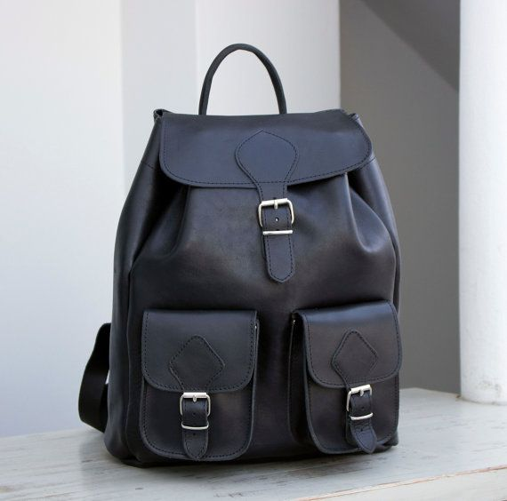 Leather Backpack EXTRA LARGEBlack full grain by MagusLeather