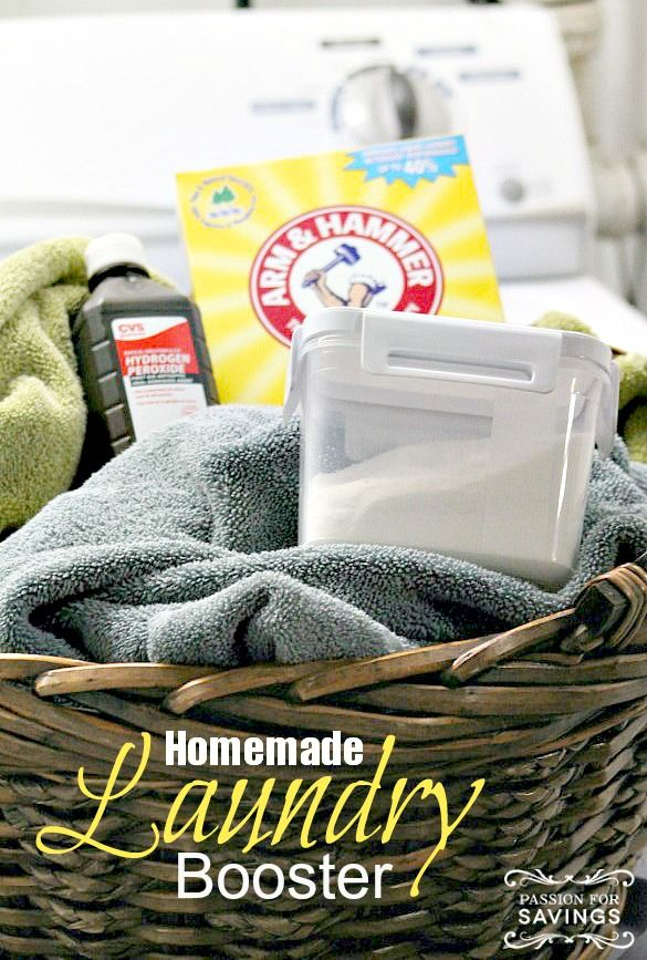 Find out how to make Homemade Laundry Booster to help take your laundry to the next level! Make your whites whiter and get out those tough stains that detergent alone cannot get out!