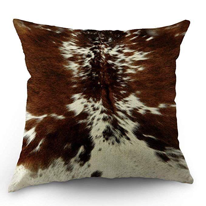Hl Hlppc Print Cowhide Throw Pillow Case Farm Animal Tri Color Brown Cow Cotton Linen Cushion Cover Cotton Linen Cushion Linen Cushion Decorative Pillow Covers
