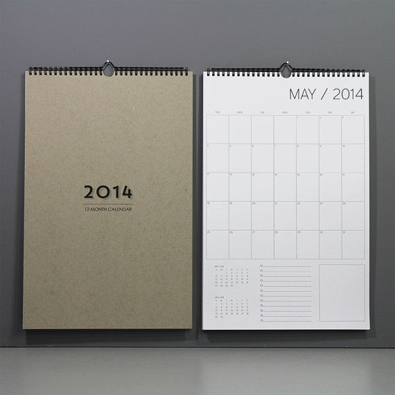 12 month wall calendar by REDSTARink on Etsy, $25.00