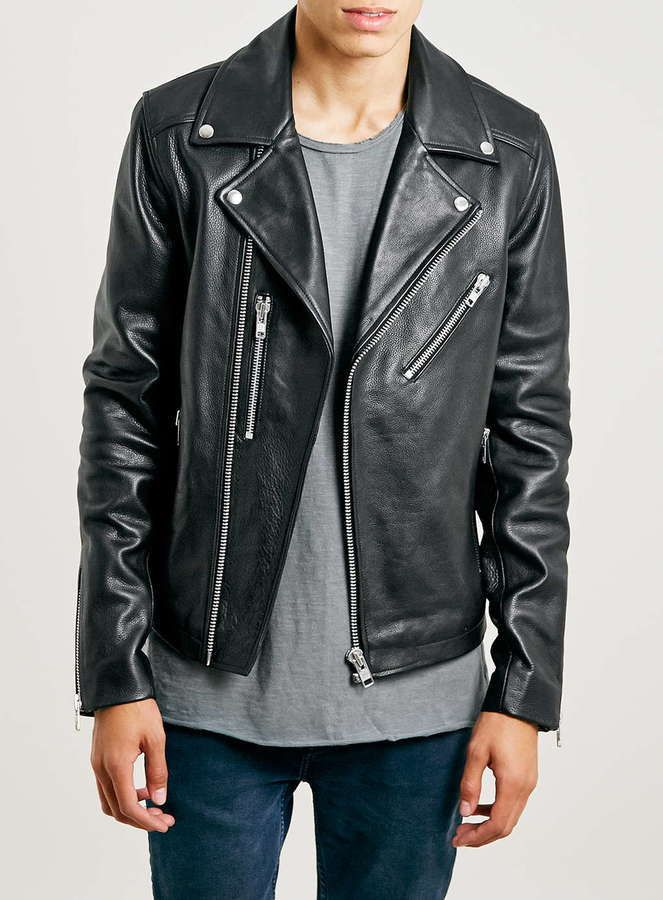 $350, Black Leather Biker Jacket: Topman Black Leather Biker Jacket. Sold by Topman. Click for more info: https://lookastic.com/men/shop_items/290930/redirect