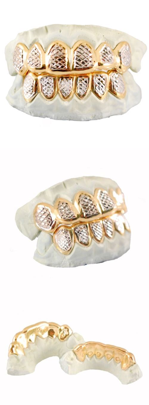 Grillz Dental Grills 152808: Custom Sterling Silver 14K Gold Plating Diamond Cut Two Tone 6Pc Grillz Grill BUY IT NOW ONLY: $109.99