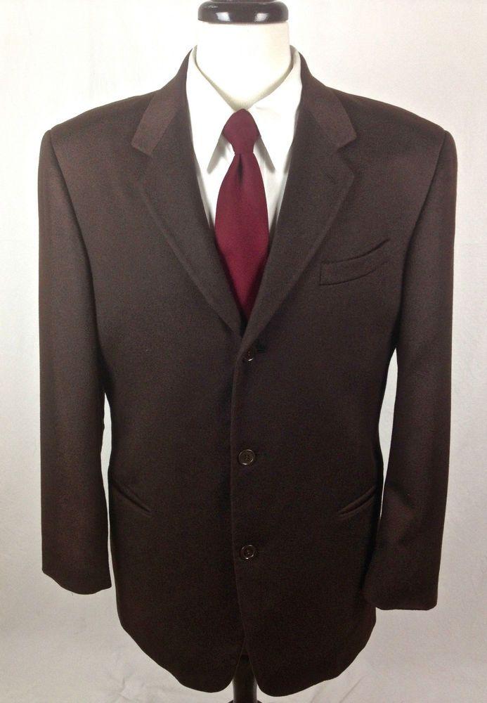 Donna Karan Cashmere Blazer 42 Brown Sport Coat Jacket Italy 42R Mens #DonnaKaran #ThreeButton