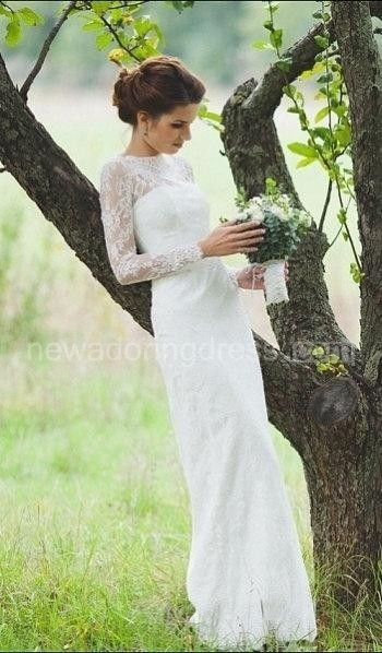 US$170.19-Romantic Fitted Style Long Lace Wedding Dress with Sleeves. http://www.newadoringdress.com/romantic-fitted-style-long-lace-sleeves-high-neck-wedding-dress-pET_711591.html. Explore our best wedding dresses & wedding gowns collection www.newadoringdress.com 2016 dress style collection. Free custom made service of any dress design & Free Shipping! #NewAdoringDress.com