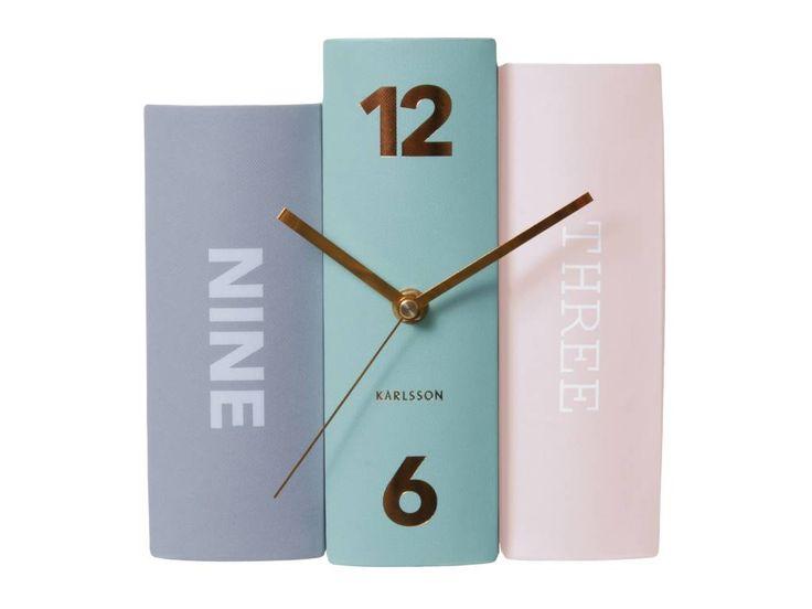 Karlsson Tabella libro di carta orologio, colori pastello, 20x15x20cm