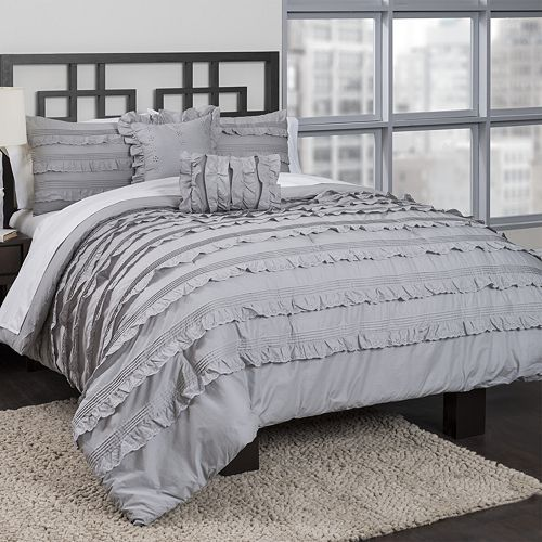 Republic Pintucked Ruffles Comforter Set Grey Ruffle