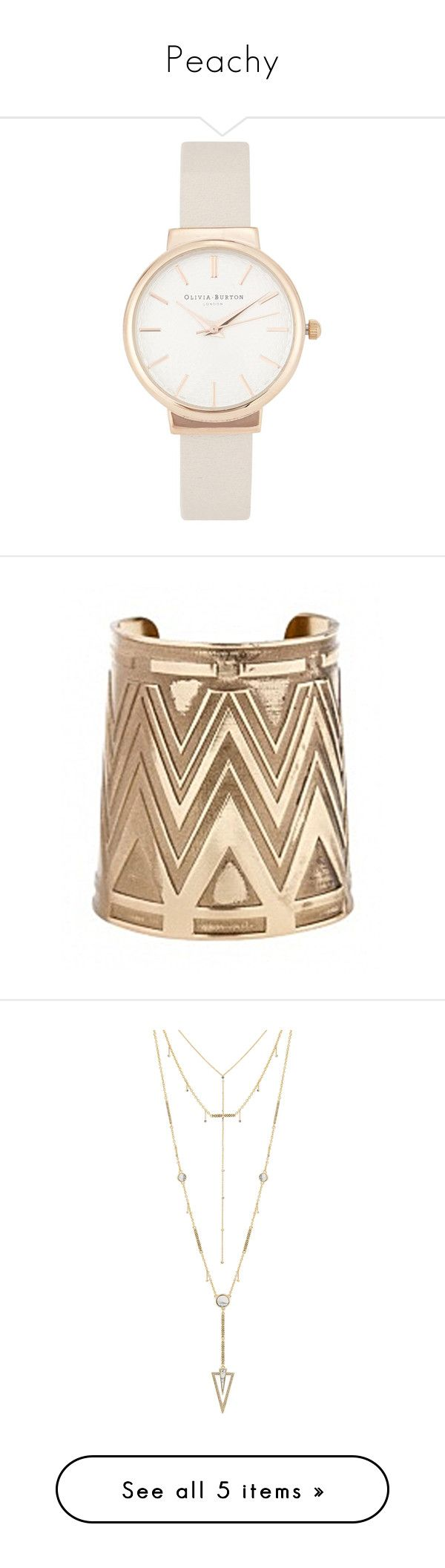 Peachy by eraj-addae on Polyvore featuring polyvore, women's fashion, jewelry, watches, accessories, bracelets, montre, olivia burton, olivia burton watches, dial watches, rose gold plated jewelry, none, house of harlow 1960, yellow gold jewelry, tribal jewelry, gold jewelry, tribal jewellery, necklaces, neck, howlite, house of harlow 1960 jewelry, statement necklace, gold tone necklace, gold tone jewelry, shoes, pumps, heels, wedges, nude blush, nude pumps, peep toe wedge pumps, platform…