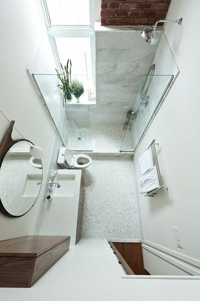salle de bain petite douche italienne verre transparent haut plafond