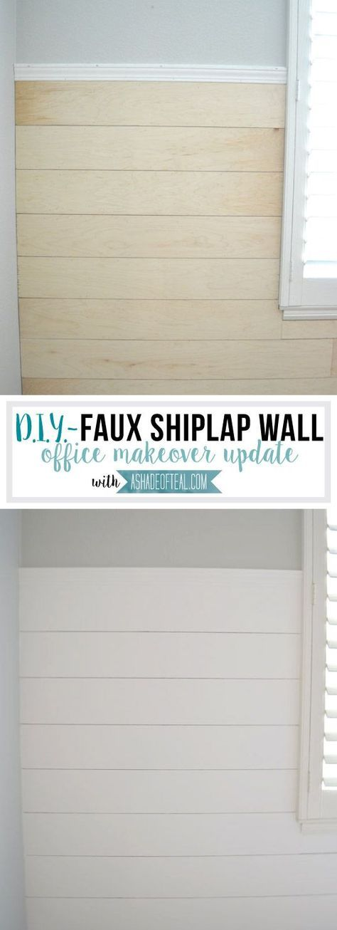DIY- Faux Shiplap Wall   A Shade Of Teal. Shiplap to go up a little over half the wall. I ended up buying 2 large under-layment panels at Lowe's and had them rip them into 6″ wide strips.
