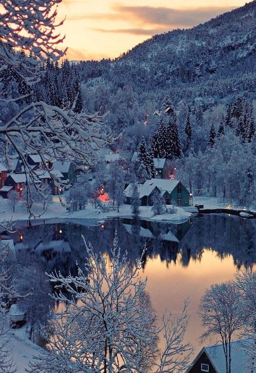 Snow Village. Would love to own that cabin on the lake. <3 Sometimes I miss living back north & in the country..