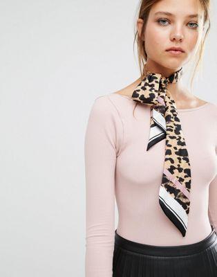 River Island Leopard Print Neck Print Tie
