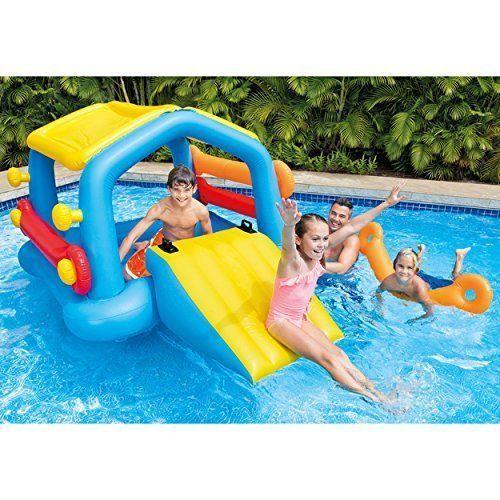 Inflatable Play Center Island Slide Intex Kids Outdoor Summer Water Backyard Fun #Intex