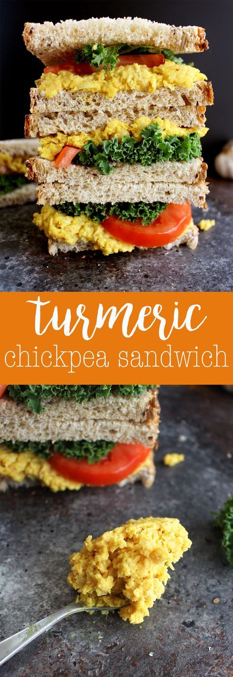 Turmeric Chickpea Salad Sandwich - an easy vegan sandwich recipe bursting with yummy flavors! via @thecrunchychron