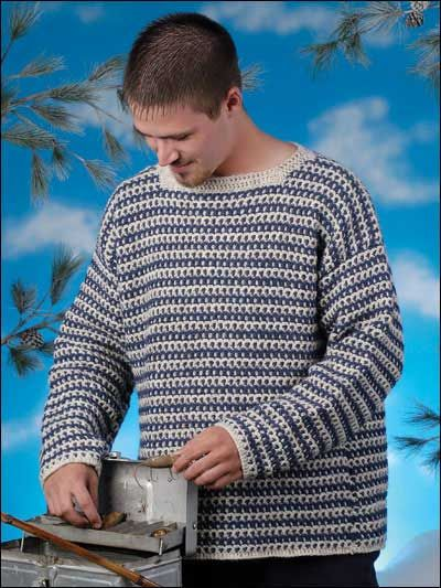 "When it's time to leave work behind for some fun or relaxation, this easy-going pullover is a winning choice! Size: chest measurement 40"" (44"", 48"", 52"", 56"").Skill Level: Intermediate"