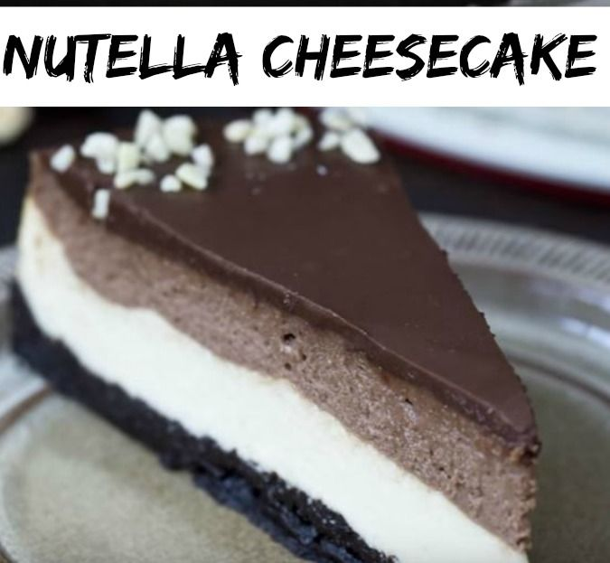 One of the best cheesecake ever, Nutella Cheesecake with a really dark chocolaty crust with oreo cookies, a white cream cheese layer, a Nutella layer followed and in the end the intense Nutella topping which makes it totally irresistible.