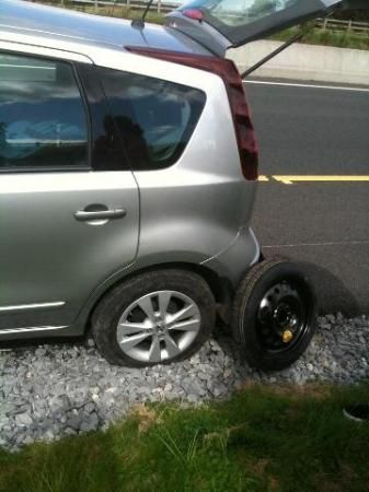 how to rent a car in ireland - tips.  This picture looks just like us!  We had to replace the same tire two times in two days in Ireland.  Drive ever so carefully as the roads are very narrow and you find yourself hanging off on one side often, which causes flat tires that cannot be repaired.