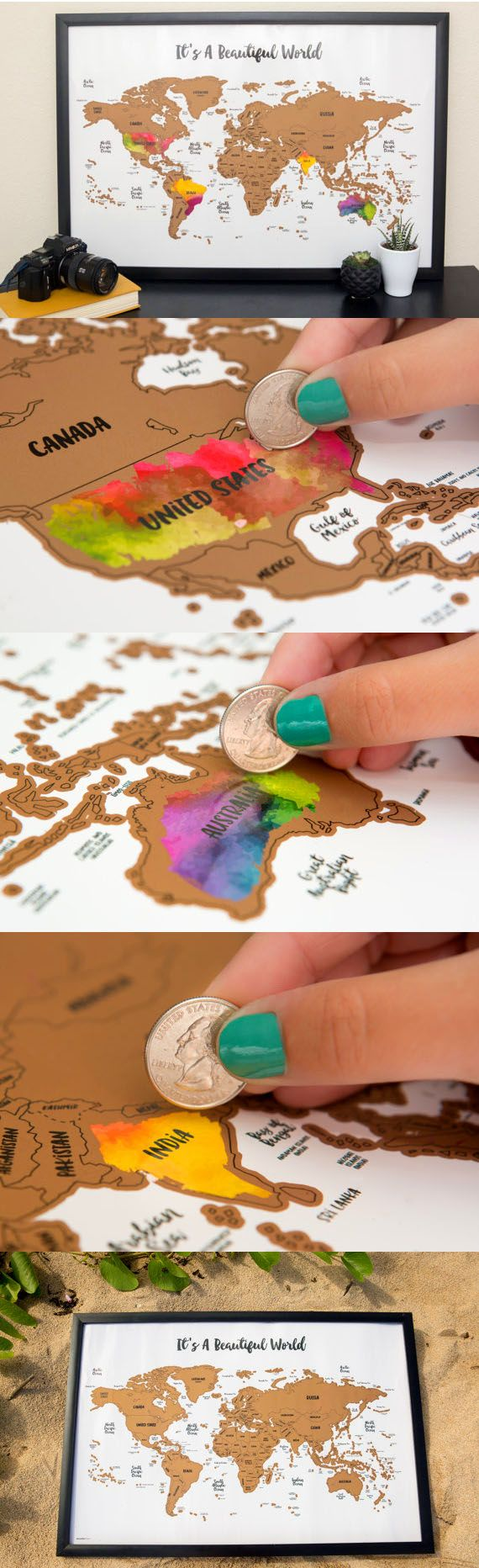 Scratch your travels with this gorgeous original watercolor world map. Bright, bold & interactive wall art that will fit any 12x18 size frame. Use a coin to scratch off the foil to reveal the bright colors