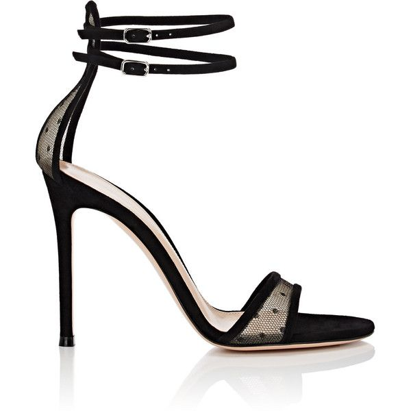 f8edc3a042 Gianvito Rossi Women's Laurel Mesh & Suede Sandals ($895) ❤ liked on  Polyvore featuring shoes, sandals, black, ankle strap sandals, double  buckle sandals, ...