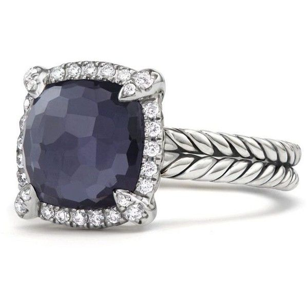 David Yurman Chatelaine Pave Bezel Ring with Black Orchid and Diamonds ($900) ❤ liked on Polyvore featuring jewelry, rings, david yurman, bezel diamond ring, diamond jewelry, bezel ring and pave diamond ring