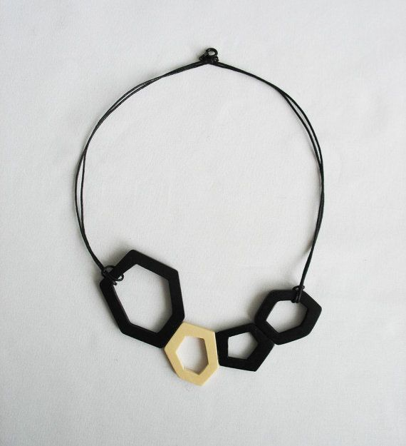 black and white wooden necklace by OtinyuO on Etsy