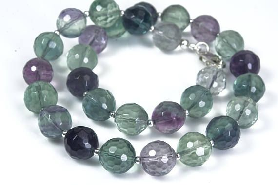 natural rainbow fluorite necklace fluorite crystal necklace