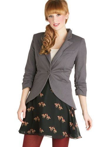 Fine and Sandy Blazer in Stone - Mid-length, Grey, Solid, Buttons, Work, Long Sleeve, Cotton, Variation, Basic, Fall, Menswear Inspired, Gre...