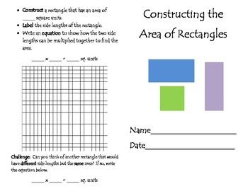 Thank you for visiting my store, Engaging Education Materials!  I happily post all new products at half price for the first 48 hours!  Be sure to follow my store to get notifications when new products are listed!Constructing the Area of Rectangles Task BookletThis download includes an 11 page student task booklet in which students determine the possible side lengths of rectangles given their area, construct rectangles using grid paper, and use the area formula.