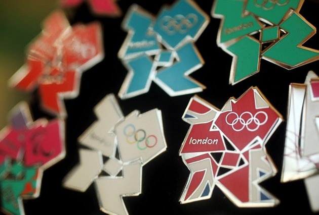 London Olympics Memorabilia - London 2012 pin badges go on display at the launch of the London Olympic Games official merchandise on July 30, 2010 in London, England. (Photo by Oli Scarff/Getty Images)