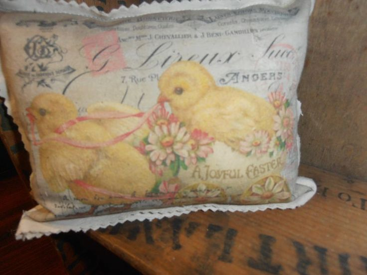 French Country Cottage Cupboard Tuck Easter Chicks Antique Postcard Design #nannysattic15 ebay available now
