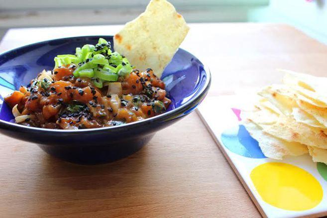 Tartar de salmón al estilo tailandés