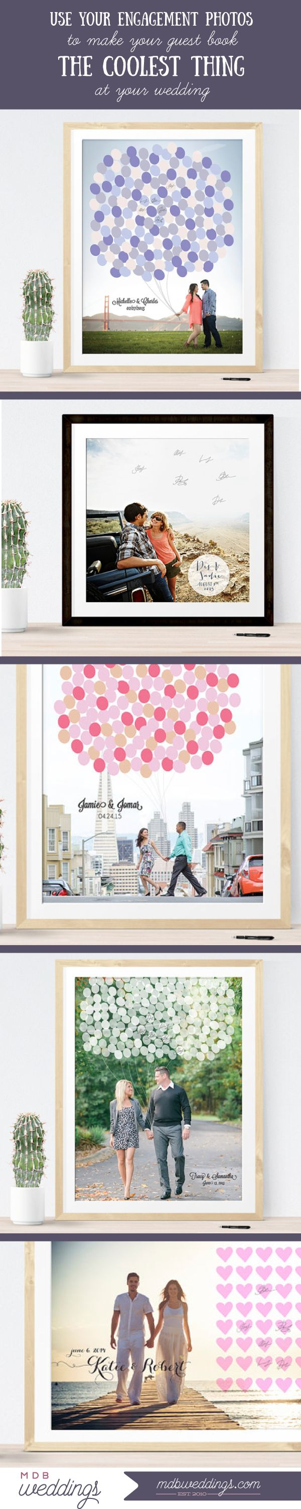 Use your engagement photos to make your #guestbook the coolest thing at your wedding!