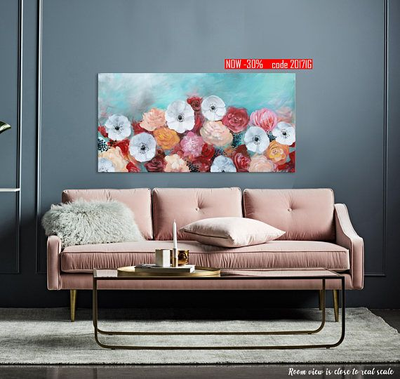 Large Colorful Floral Abstract Original Painting Turquoise Pink Red Wall Art Spring Blossom Flowers