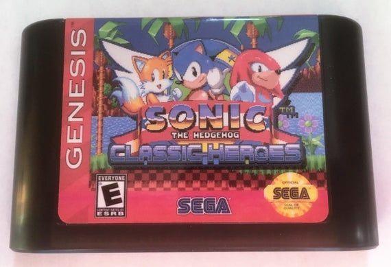 Sonic The Hedgehog Classic Heroes Sega Genesis Mega Drive Custom Reproduction Video Game Cartr In 2020 Sega Genesis Classic Video Games Sonic Heroes