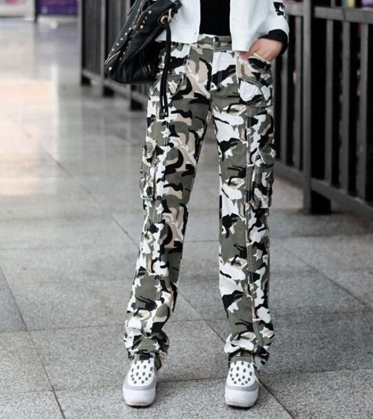 Military Womens Overall Camo Pants Leisure Cargo Army Pocket Long Trousers