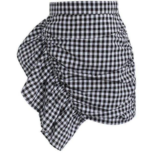 Chicwish Nifty Slanted Ruffle Gingham Bud Skirt ($37) ❤ liked on Polyvore featuring skirts, black, frilled skirt, ruffle skirt, frill skirt, flounce skirt and frilly skirt