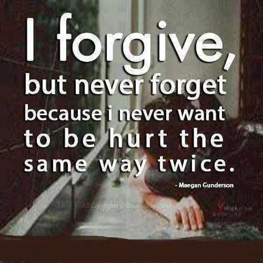 Breaking Up and Moving On Quotes : I forgive but never forget because I never want to be hurt the same way twice.
