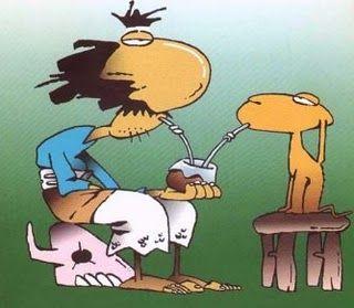 Inodoro Pereyra y Mendieta tomando mate.