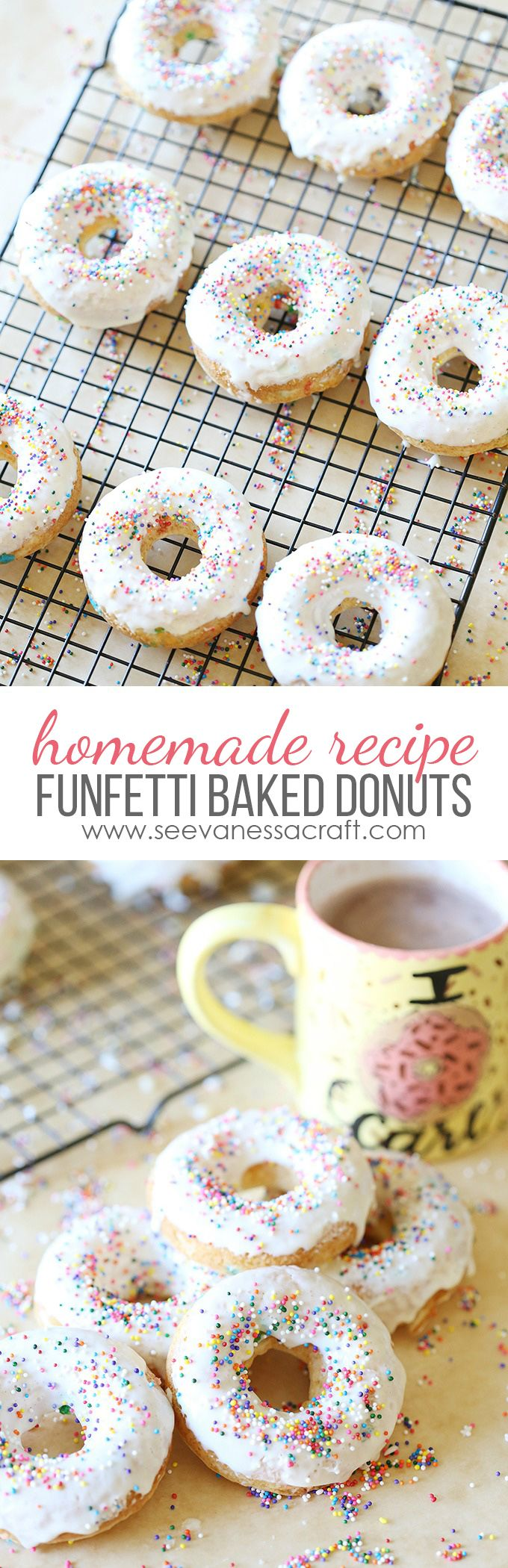 Easy Homemade Funfetti Cake Mix Baked Donuts Recipe