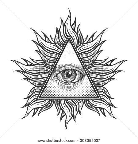 All seeing eye pyramid symbol in the engraving tattoo style. Freemason and spiritual, illuminati and religion, triangle magic, vector illustration