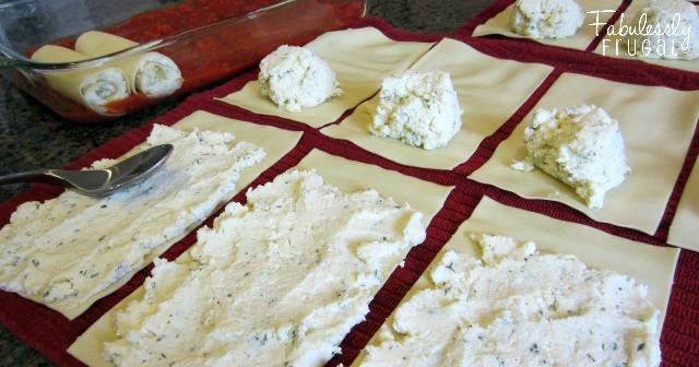 assembling the manicotti