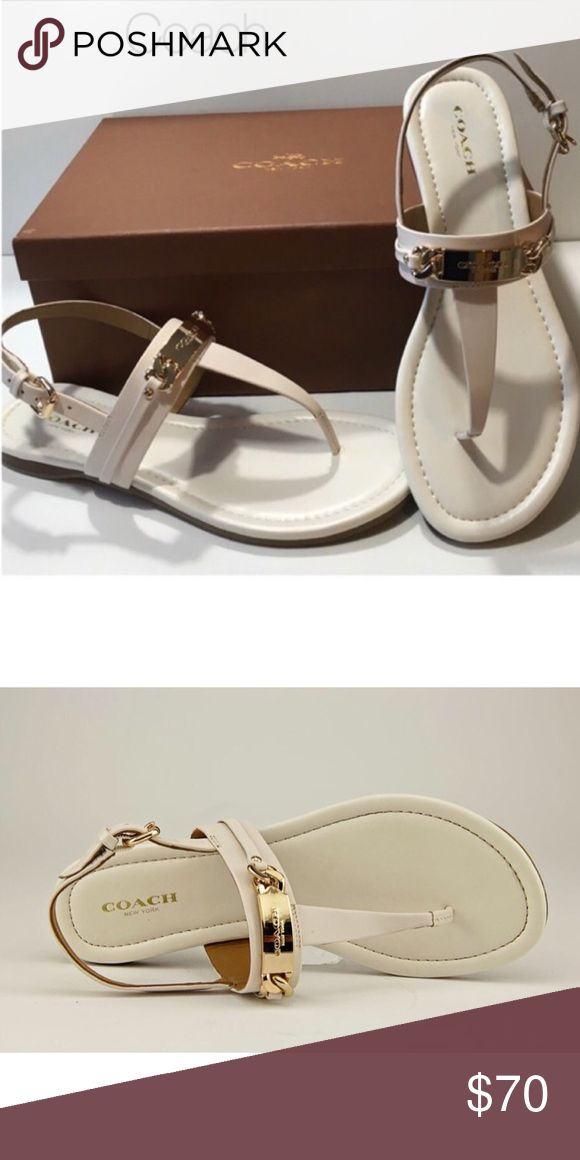 🆕 Coach Caterine Sandals COACH CATERINE Logo Hardware Color is Chalk; more of a cream color. Patent Leather Flat THONG SANDALS. Bright signature gold hardware accents the simple shape of a minimalist sandal with the look of lacquer. Its refined design is finished with smooth leather linings and a lightly padded insole. Patent leather. Rubber-covered leather sole. Box not included. Coach Shoes Sandals