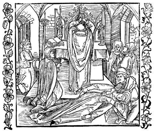 Dürer, Albrecht: Illustration zum »Der Ritter vom Turn«, Szene: Eine leichtfertige Frau wird während der Messe ohnmächtig und fällt ihrem Liebhaber in die Arme