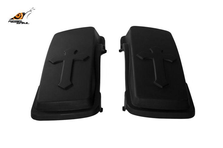 RS hard saddlebag lids cross design for touring 1993-2013 Image