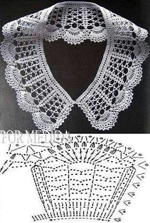 Crochet white collar pattern #crochet