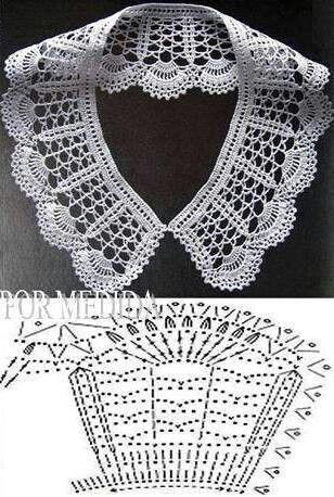 Crochet white collar pattern #crochet